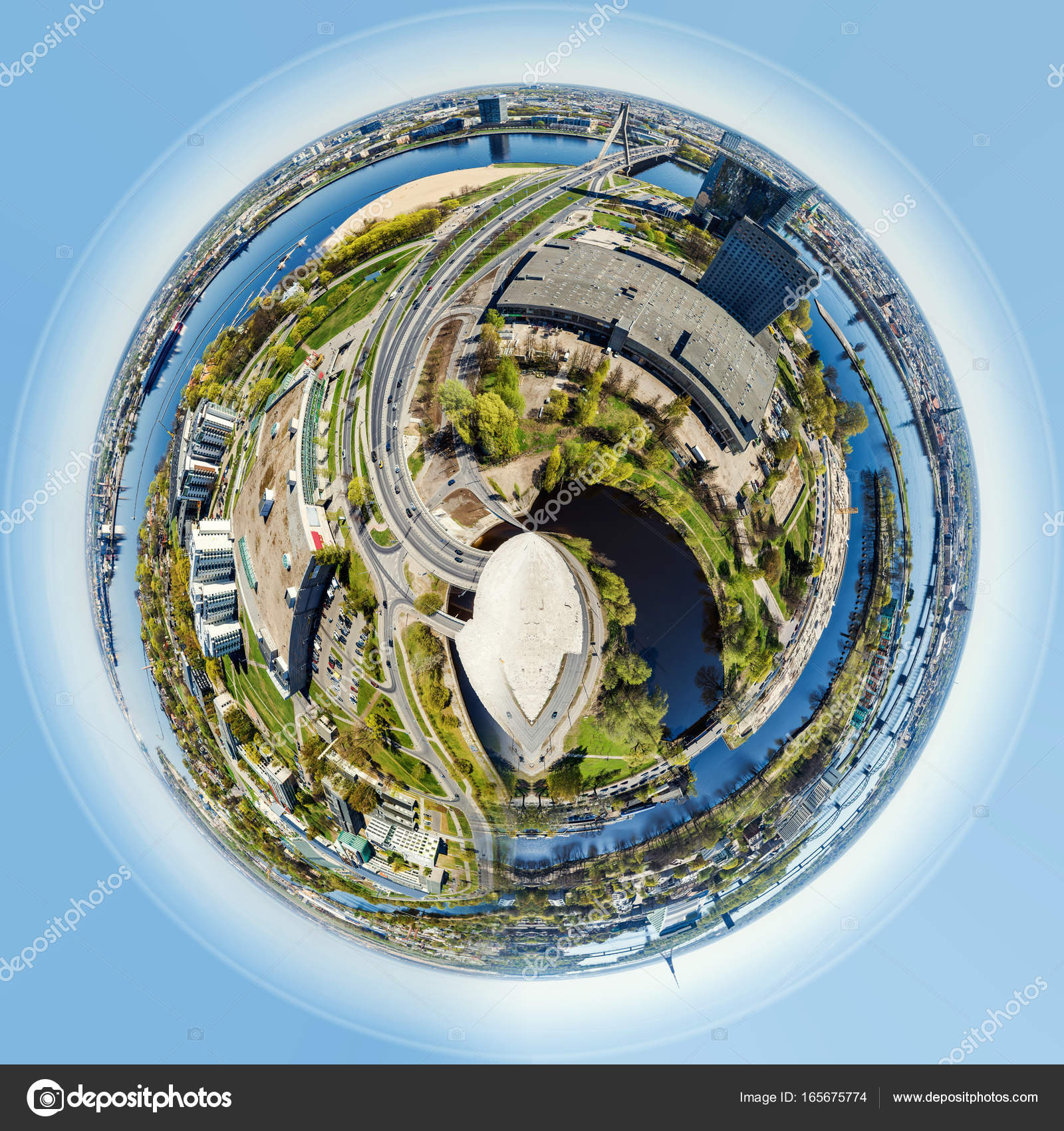 Little Planet 360 Degree Sphere Stock Photo