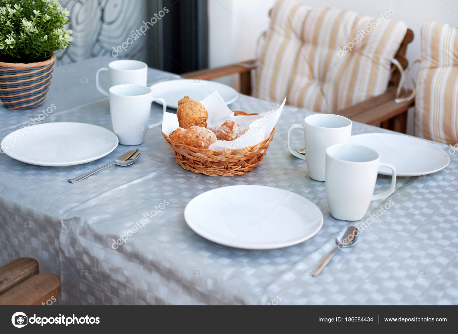 Table setting for breakfast u2014 Stock Photo & Table setting for breakfast u2014 Stock Photo © amoklv #186684434