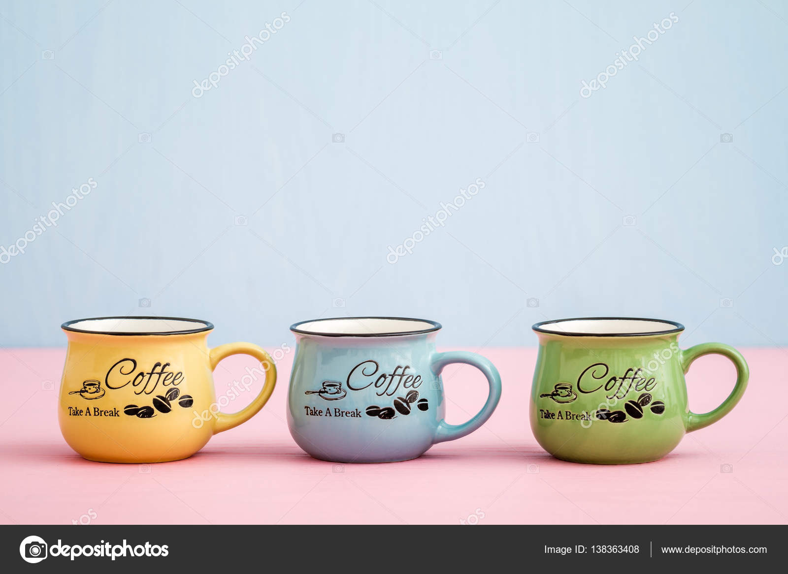 Creative Cute Coffee Mugs On Blue Pink Background Stock Photo C Hskoken 138363408