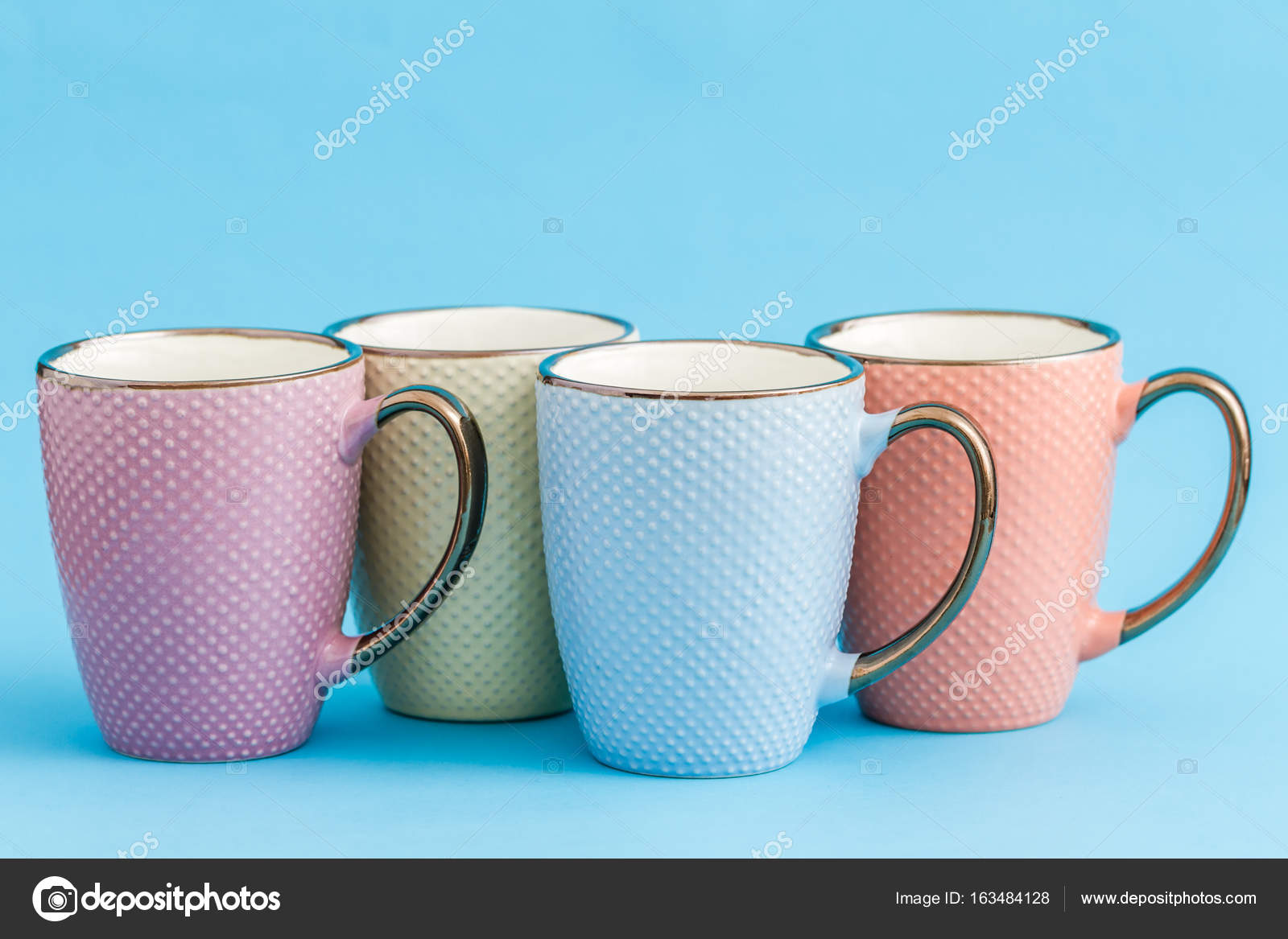 ... Colorful Coffee Mugs On Blue Background Photo By Hskoken ...