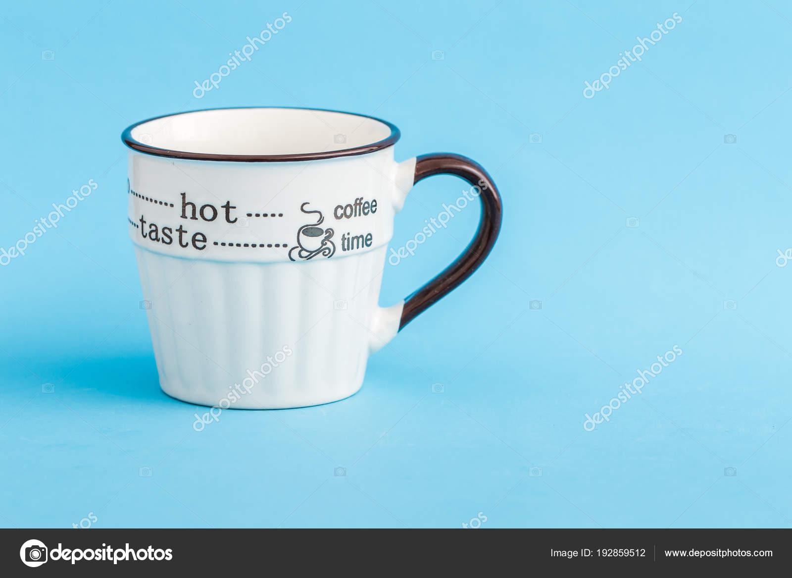 Creative Cute Coffee Mugs On Blue Background Stock Photo Image By C Hskoken 192859512