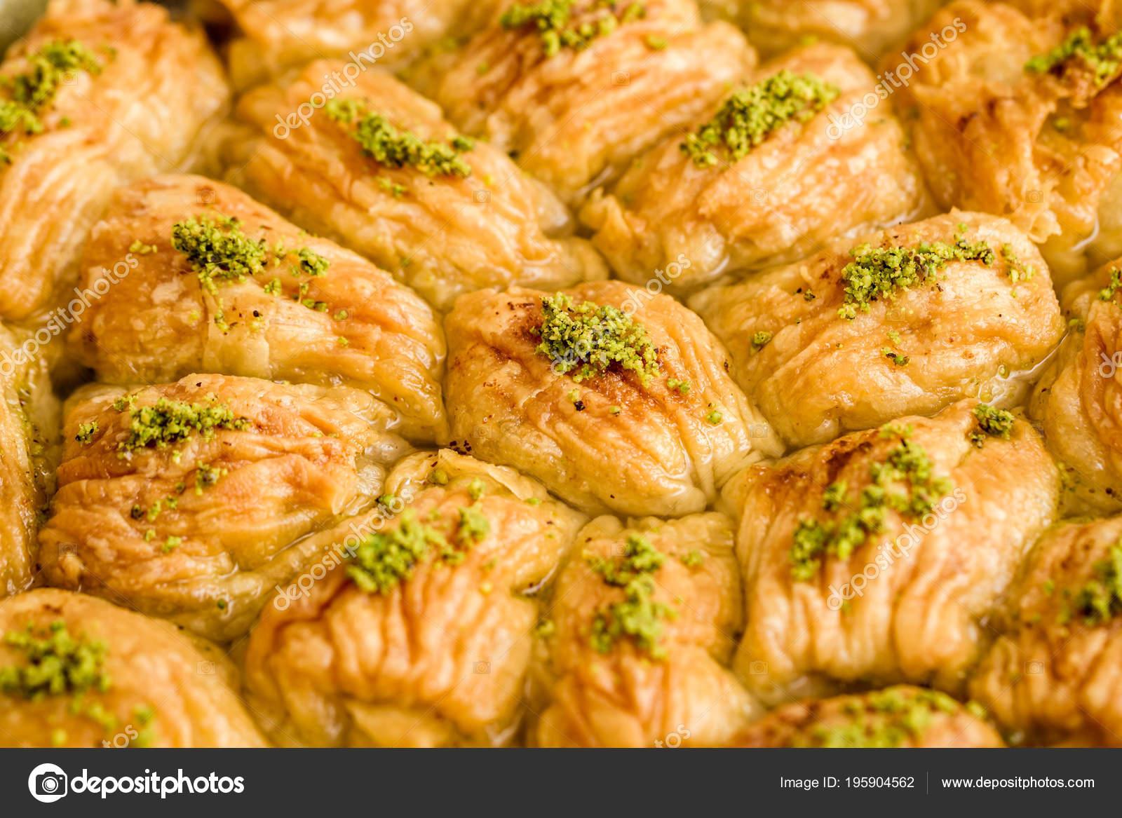 Turkische Pistazien Kuchen Dessert Baklava Auf Einem Tablett Und