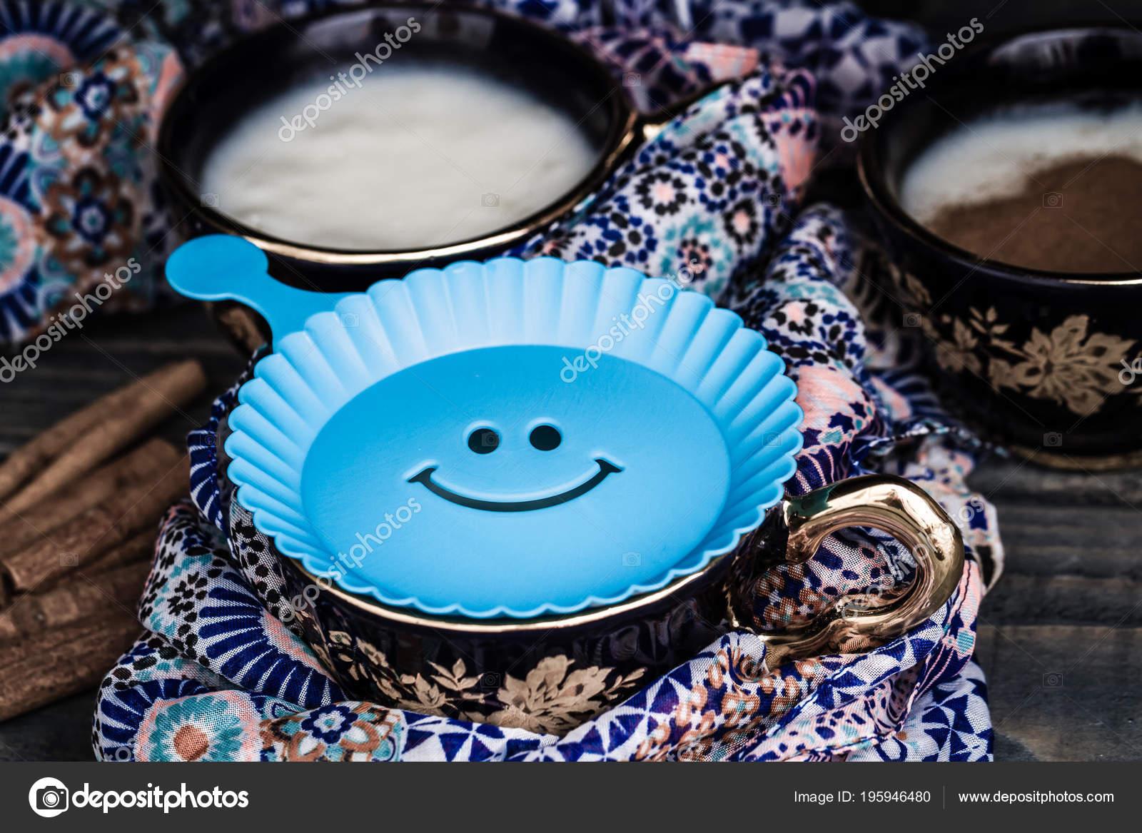 plastic smiley face template put powder cinnemon sahlep stock