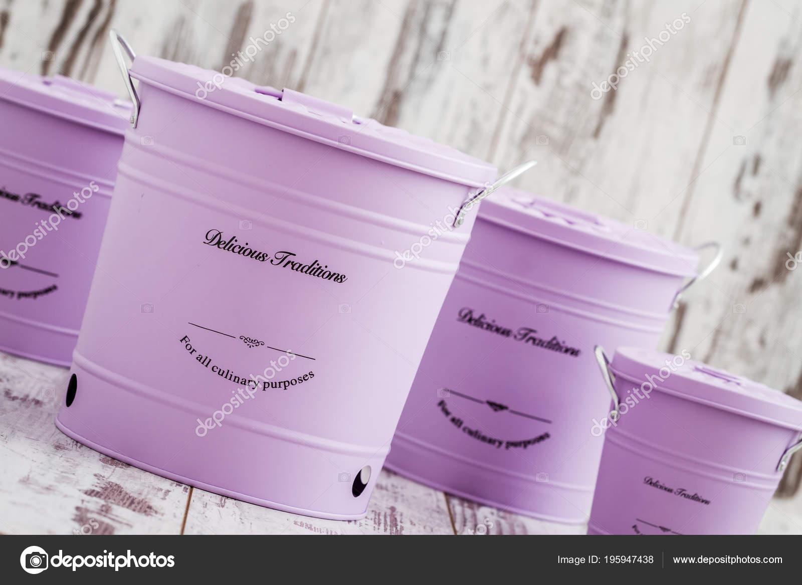 Vintage Purple Potato Onion Garlic Storage Containers White Wooden