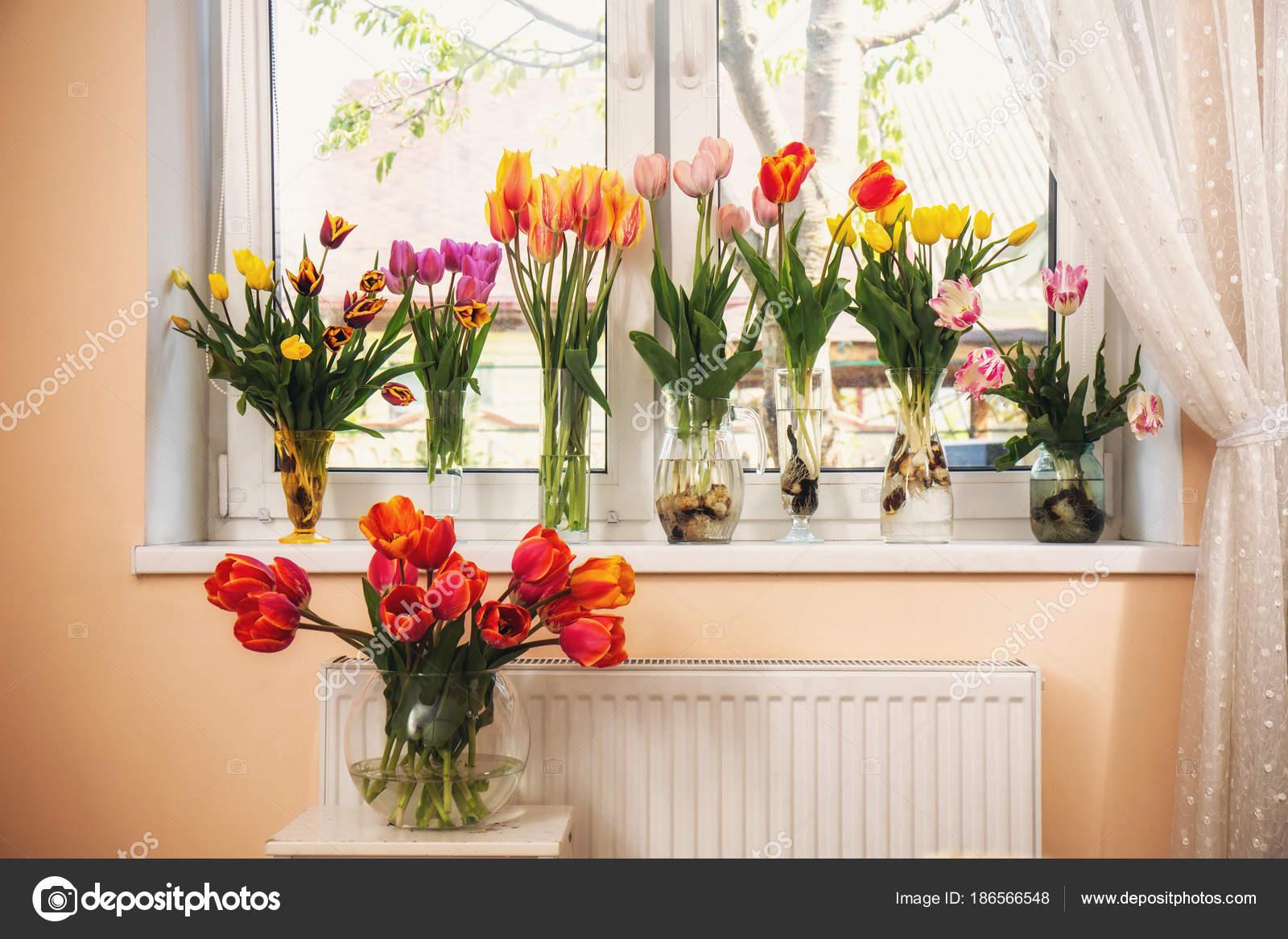 Sammlung Von Verschiedenen Tulpen In Vasen Auf Der Fensterbank U2014 Foto Von  ...