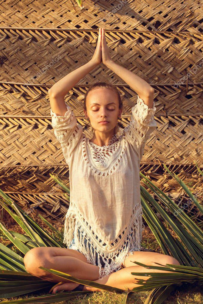 meditating on a palm leaf