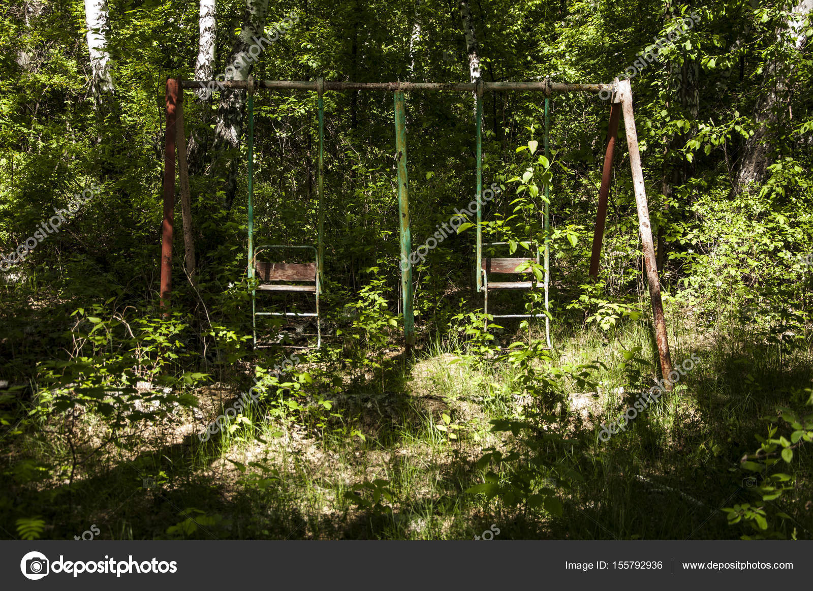 Abandoned Playground In Forest Stock Photo C Inxti74 155792936