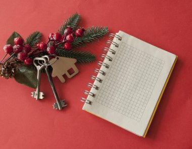 Christmas decoration: decorative house and key to the lock. Conc