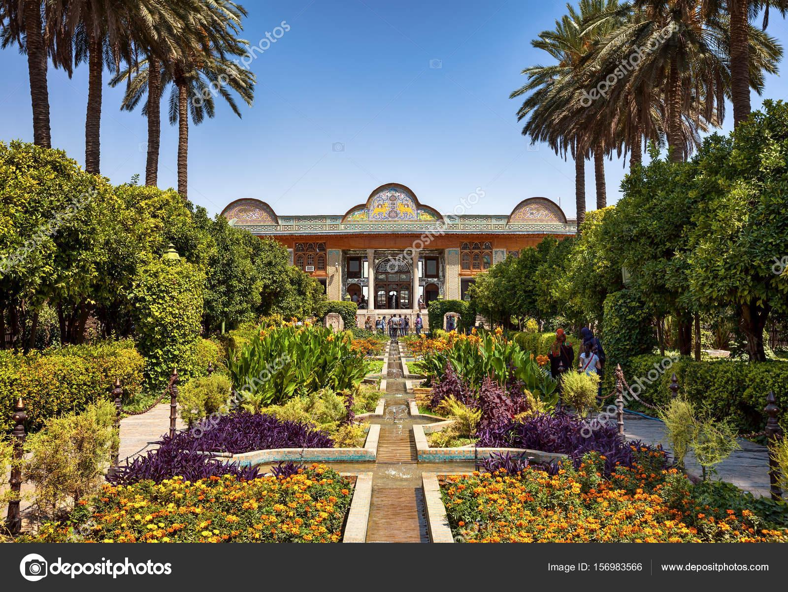 Narenjestan Qavam With Beautiful Persian Garden And Majestic Pavilion In  Shiraz City Of Iran U2014 Stock