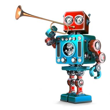 Vintage Robot playing trumpet. 3D illustration. Isolated. Contains clipping path.