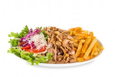 Close up of kebab sandwich on white background stock vector