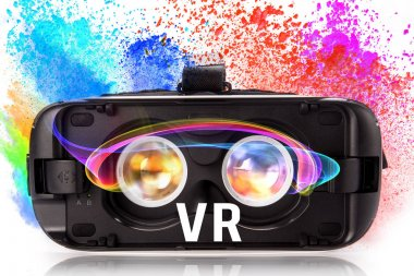 VR virtual reality glasses with colored powder.