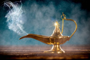 Aladdin magic lamp with smoke.