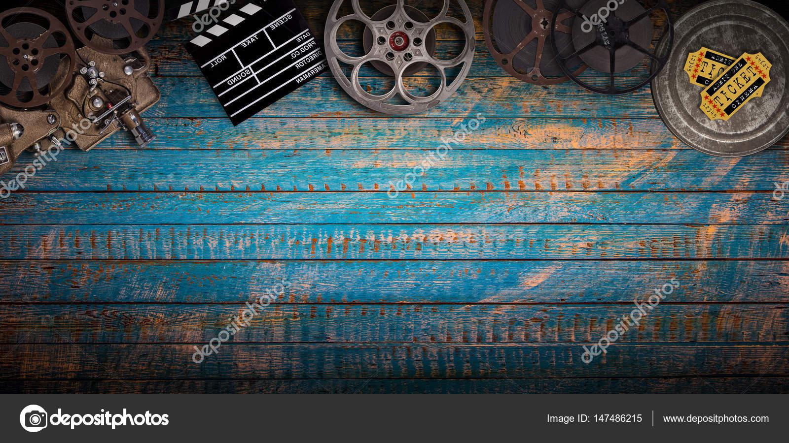 Cinema Concept Of Vintage Film Reels Clapperboard And Projector