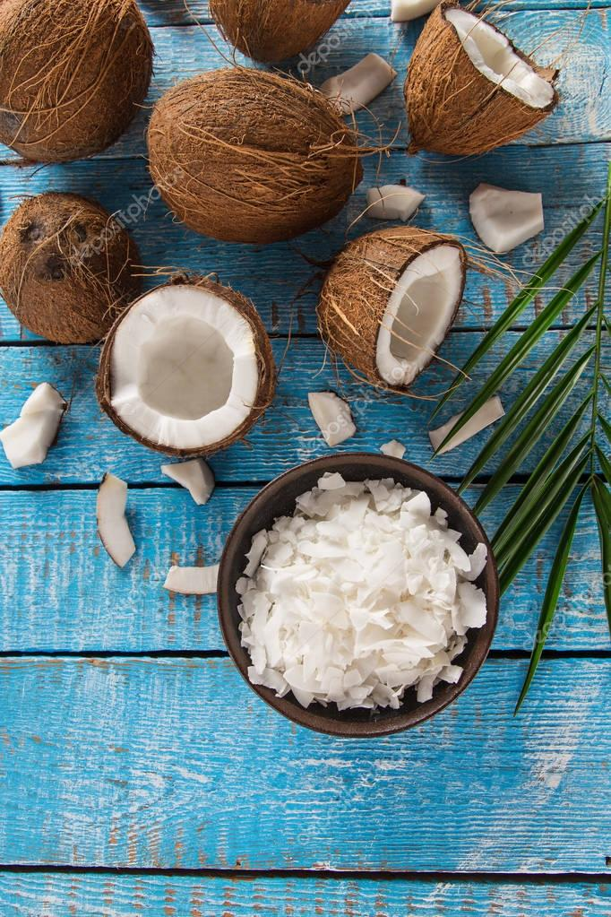 close-up of a coconut oil
