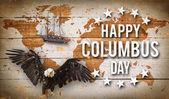 fröhlicher Kolumbus Tag Banner, patriotischer Hintergrund