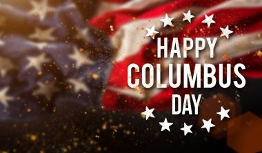 Happy Columbus day banner, patriotic background