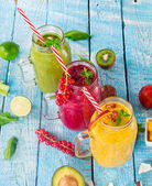 Fotografie Healthy fresh smoothies with ingredients.