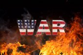 Photo Grunge American flag, war concept with fire flames.