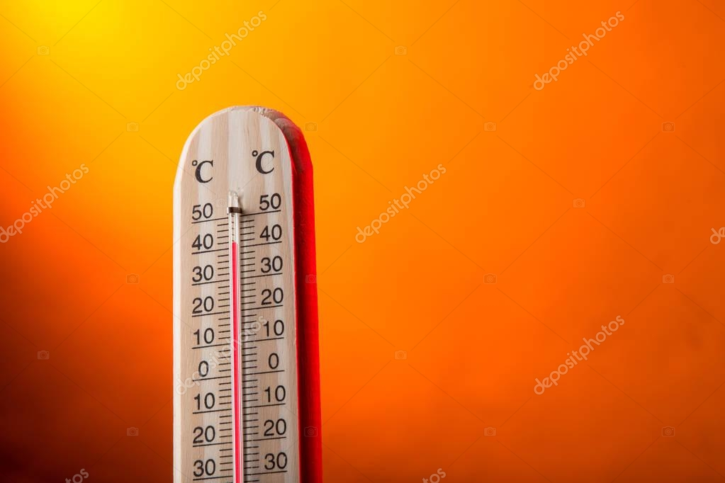Celsius thermometer with hot background