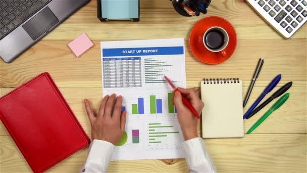 Žena analyzuje finanční grafy