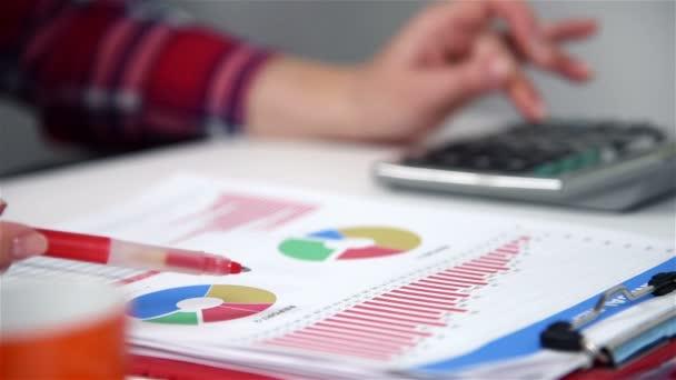 Obchodník žena pracující na projektu v úřadu, audit spuštění sestavy. Vypočítá zisk