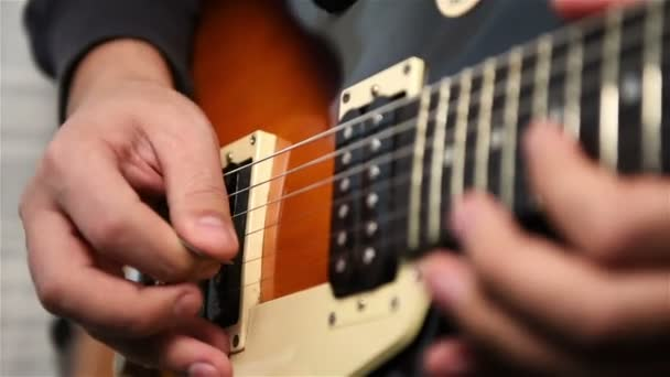 Musician Plays Rock Music On Electrical Guitar