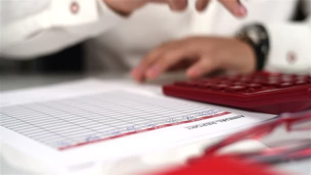 Trader Man Fills Annual Report And Financial Statistics. Paperwork Concept
