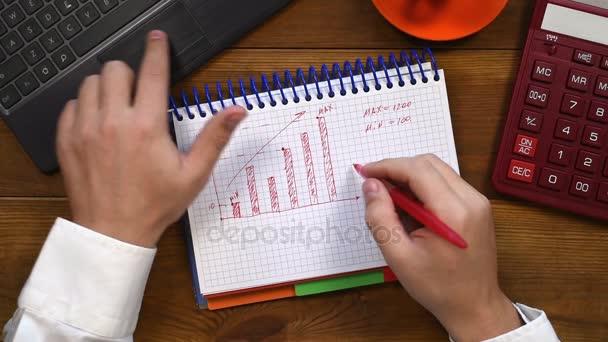 Accountant Man Drawing Minimum And Maximum Profit In Diary