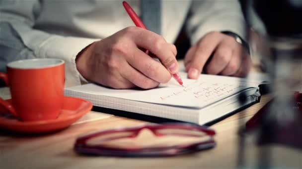 Businessman Writes The Costs And Benefits In Notepad