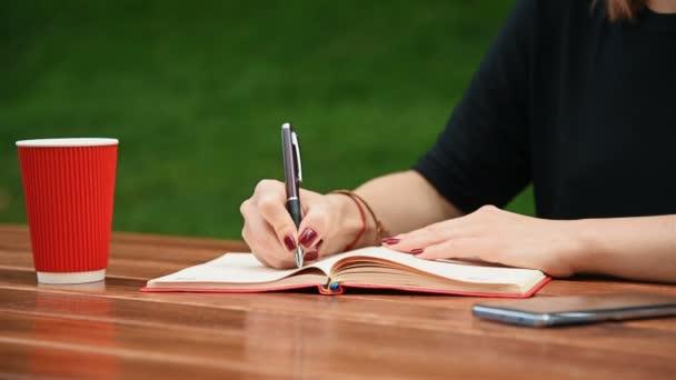 nő, írásban, vagy a jegyzék egészségügyi betét irkafirka. közelről