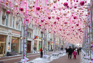 MOSCOW, RUSSIA - JANUARY 4, 2017: Festively decorated for Christmas and the New Year the Old Arbat street