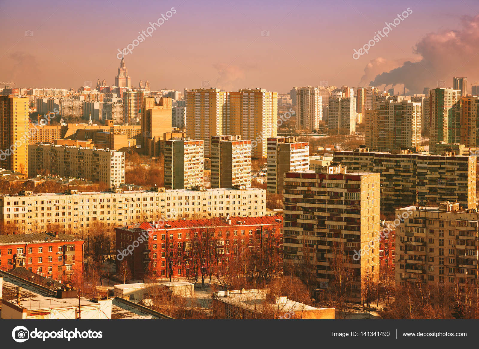 View On A Modern City Tall Apartment Buildings Sunset Retro Treatment Stock