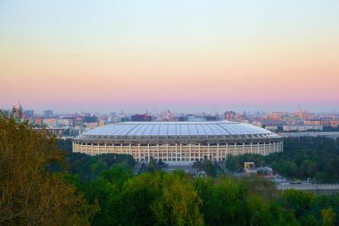 Moscow, Vorobyovy Gory (Sparrow Hills). Observation deck. Recreation complex Luzhniki.