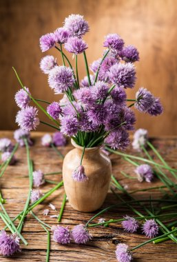 Bouquet of onion (chives) flowers in the vase on the wooden tabl