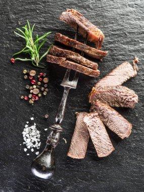 Well-done steak Ribeye.