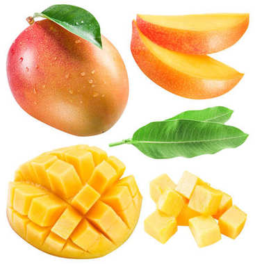 Set of mango fruits, mango slices and leaf. Clipping path for ea