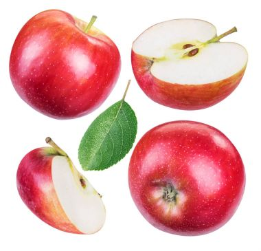Set of ripe red apples and apple slices.