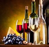 Zátiší s vínem, sýry a ovoce.