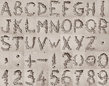 Handwritten English alphabet, numbers and mathematical symbols o