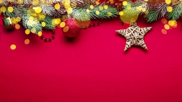 Animated video with a red Christmas background and New Year decorations