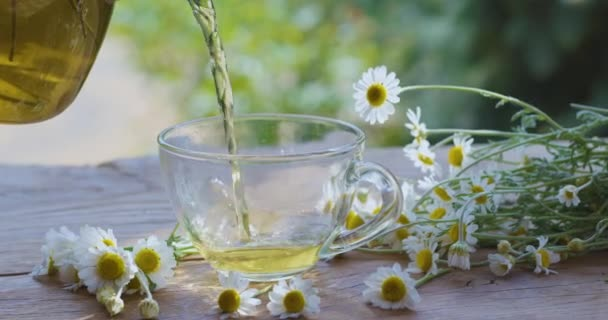 Chamomile tea is poured into a glass cup from a transparent teapot. The action takes place on a summer rural terrace with playing sunbeams. Nearby are the flowers of a pharmaceutical chamomile.