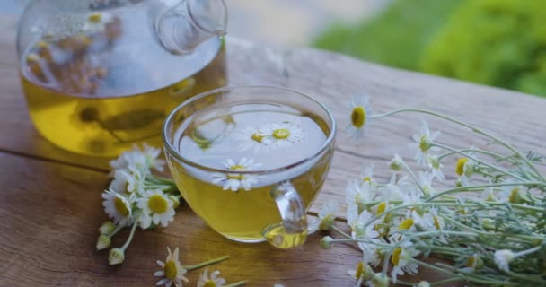 Chamomile tea in a glass teapot and cup, the camera moves around. The action takes place on a summer rural terrace with playing sunbeams. Nearby are the flowers of a pharmaceutical chamomile.