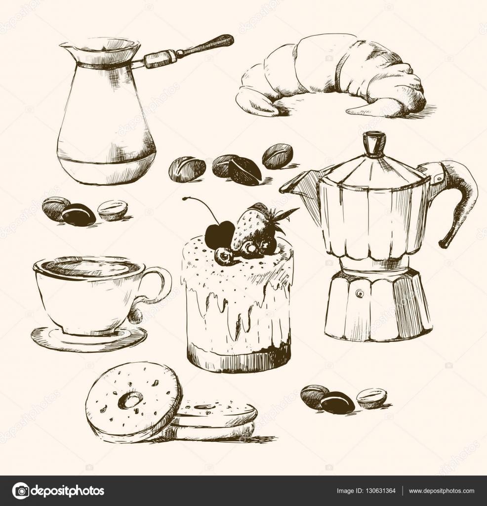Kaffee Tasse Gezeichnet Trinken Stockvektor Lissa Com 130631364