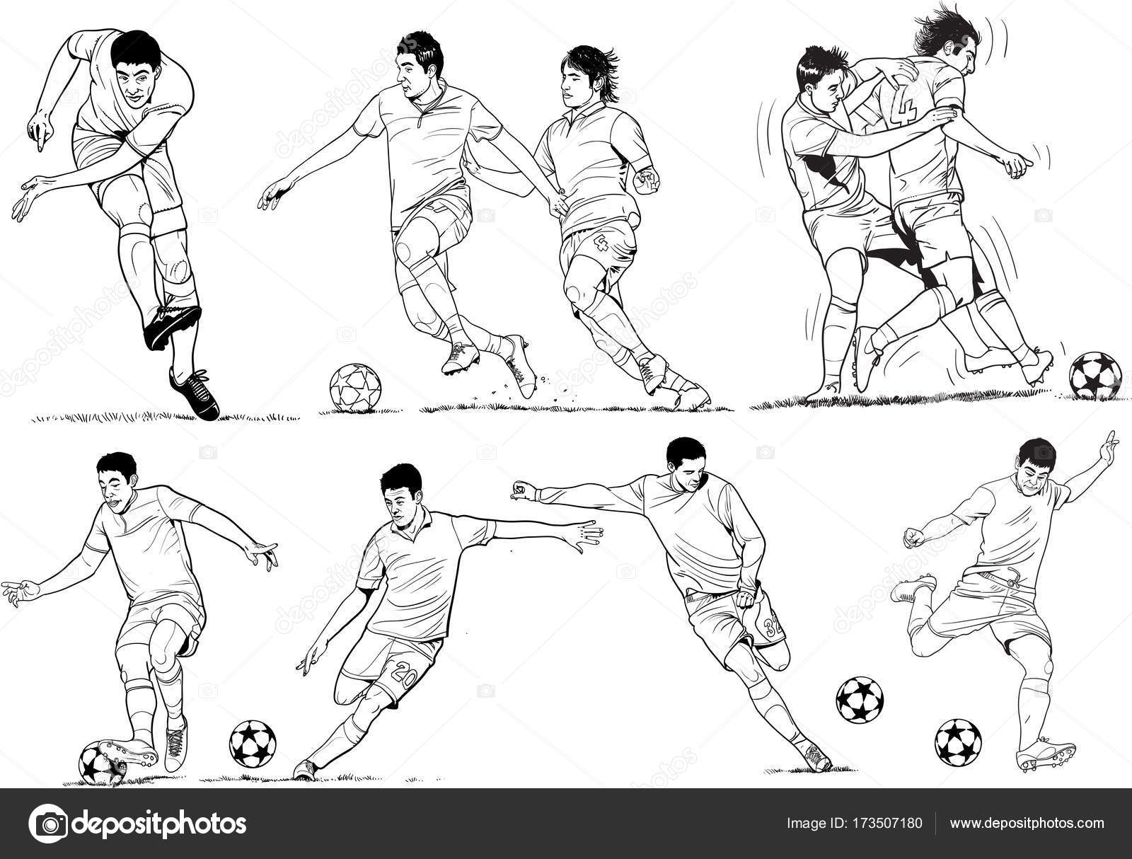 Soccers spieler zeichnen stockvektor