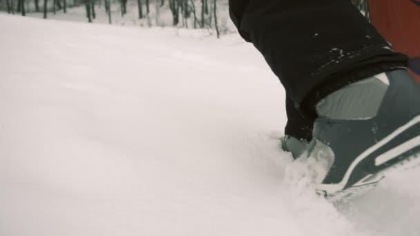 Snowboardista chodí zasněžovaných svahu