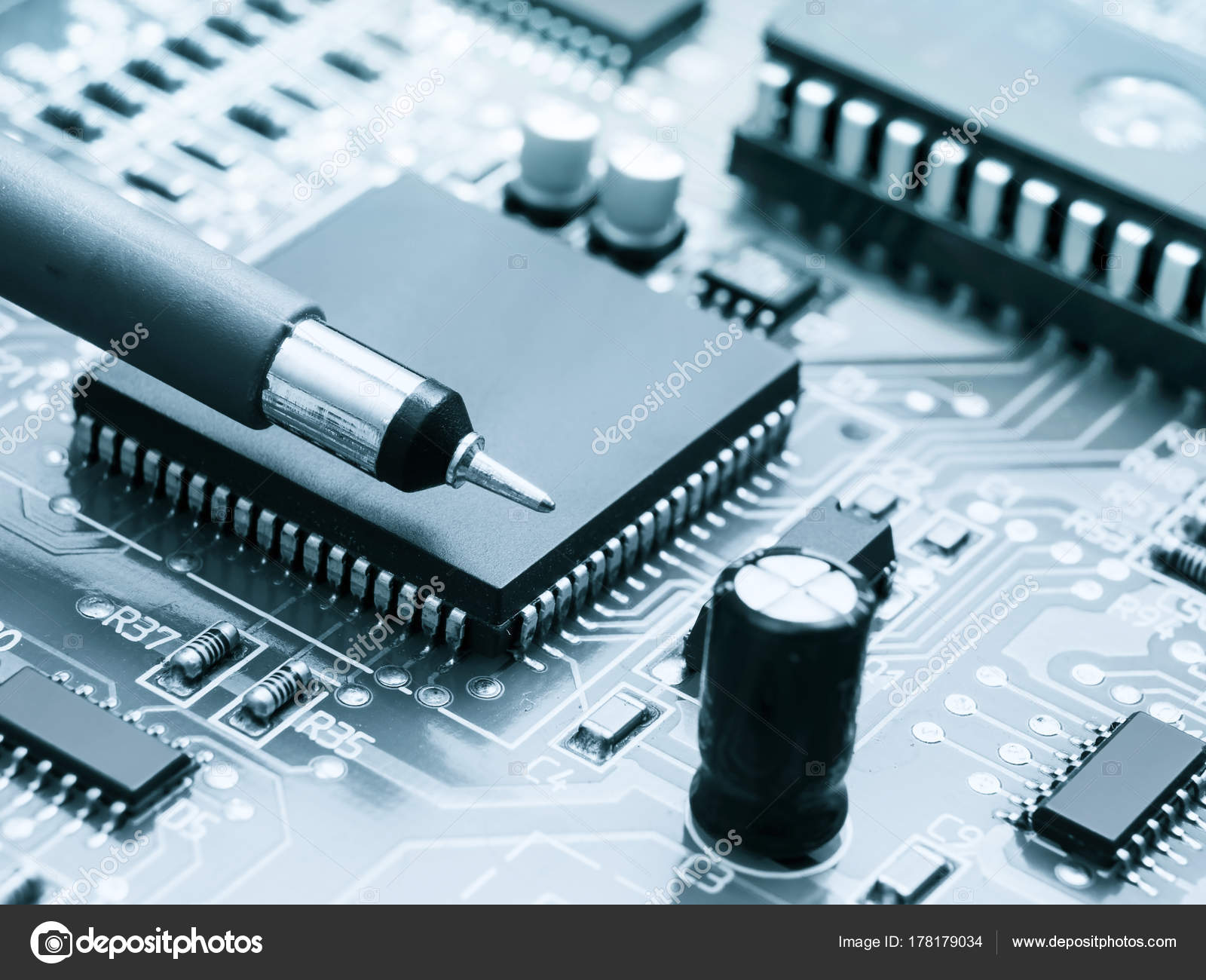 Circuit Board With Electronic Components Background Integrated Circuits Used As Royalty Free Stock Photos Parts Photo By Germanovich Find Similar Images