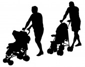 Families with little child walking on street. Isolated silhouettes of people on white background