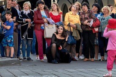 May 25, 2019 Minsk Belarus Street festivities in the evening city