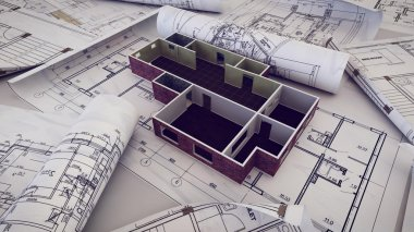 3d rendering of Architect workplace.